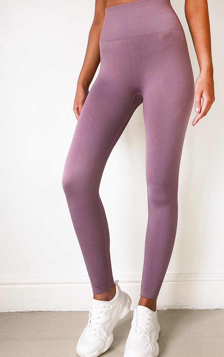 Mauve High Waist Seamless Gym Leggings 2