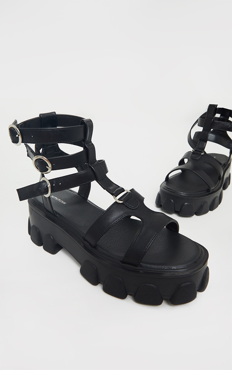 Black Chunky Sole Round Buckle Sandals 3
