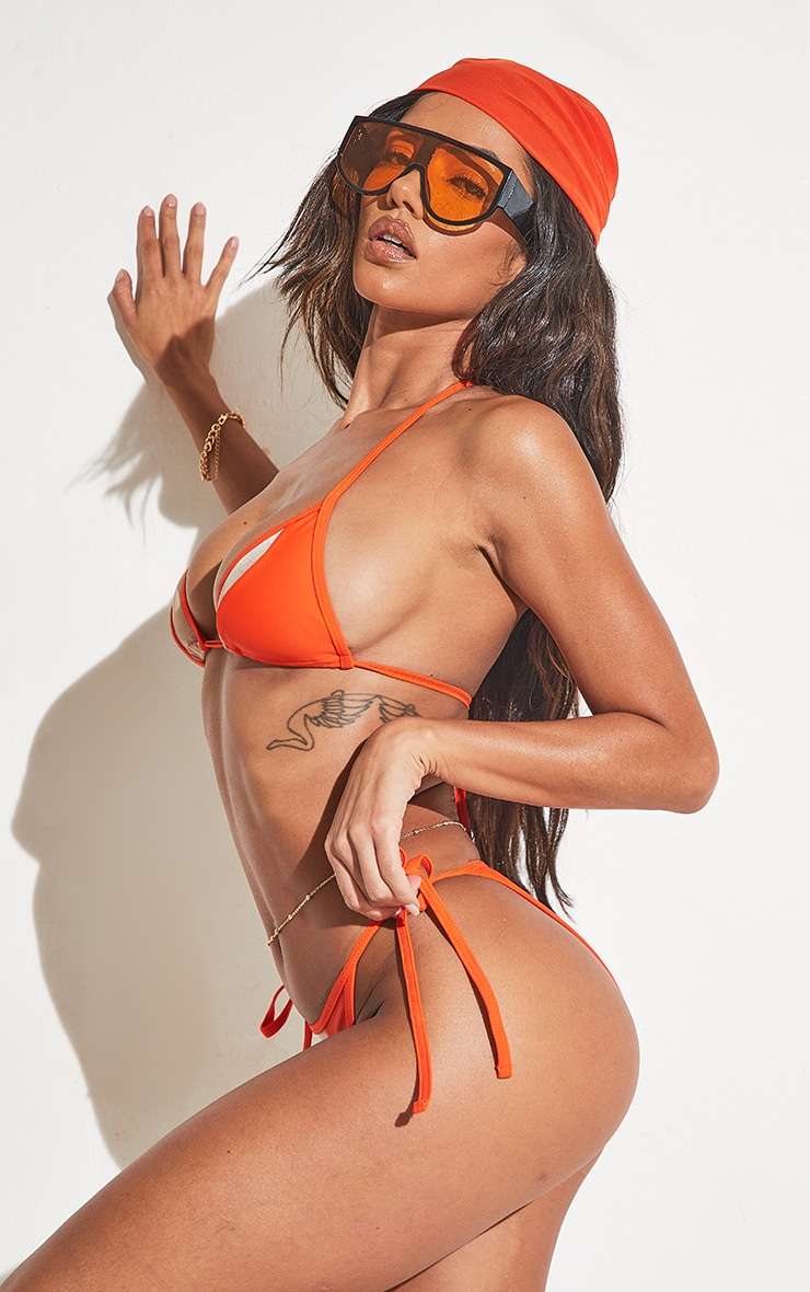 Orange Mesh Panel Bikini Bottoms 5