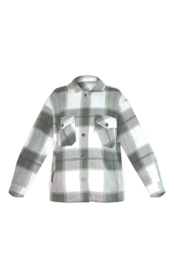 Veste style chemise kaki à carreaux et poches devant 5