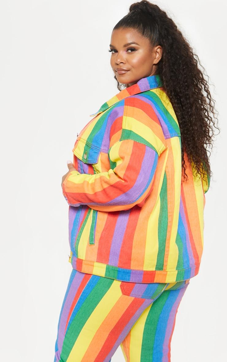 Plus Multi Stripe Denim Jacket  2