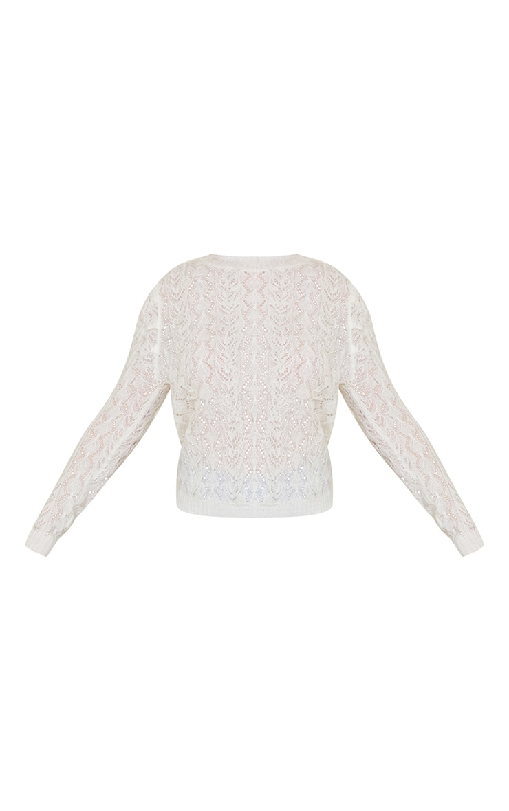 White All Over Pointelle Knitted Sweater 5