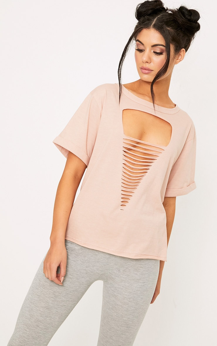 Theea Nude Extreme Choker Rip Jersey T Shirt 1