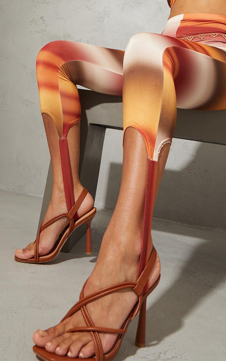 Tan PU Knot Toe Loop Slingback High Flare Heel Sandals 1