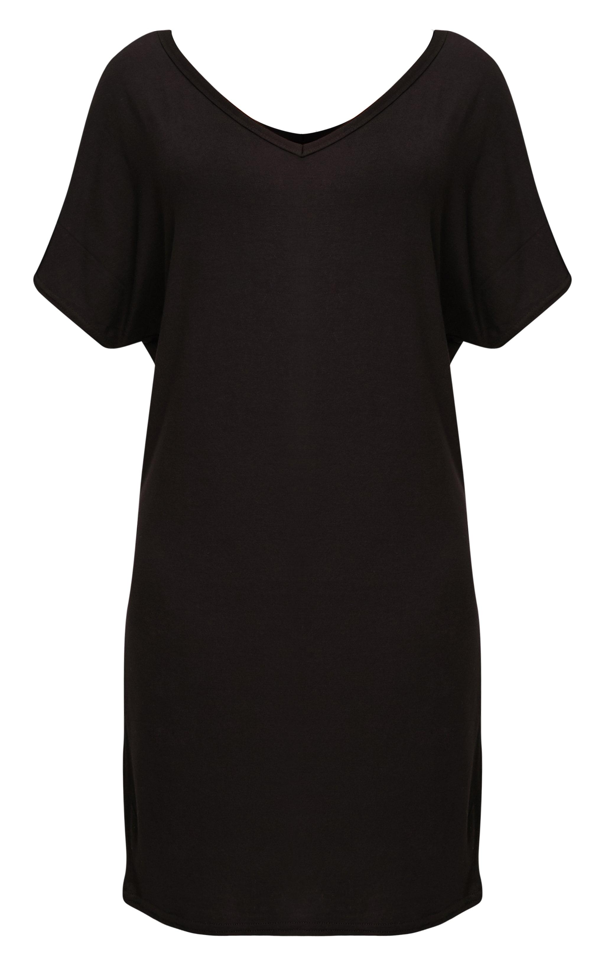 Basic 2 Pack  V Neck T Shirt Dress  3