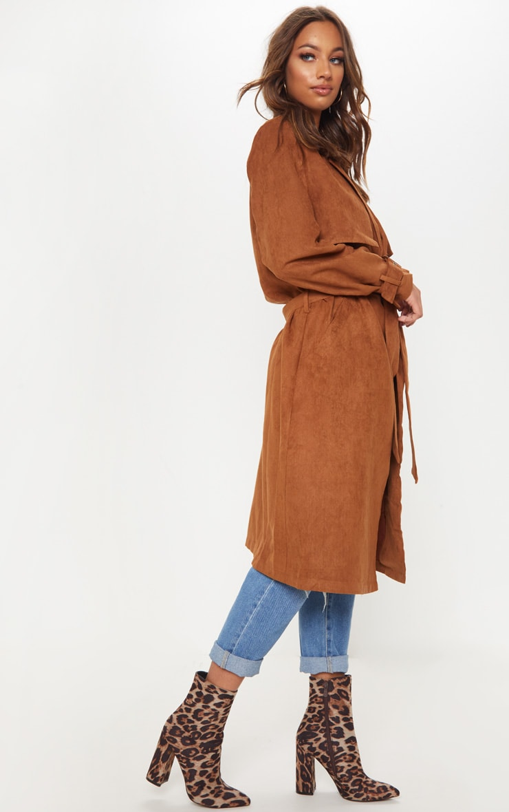 Brown Faux Suede Trench  4