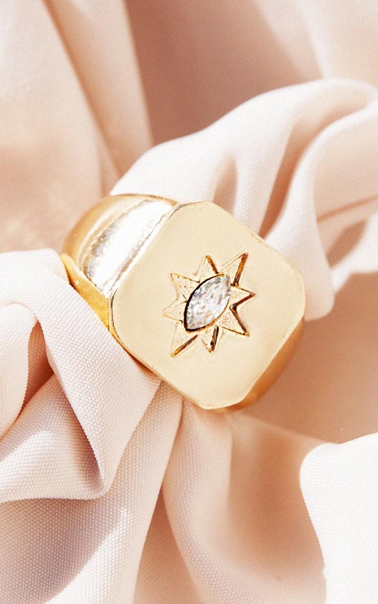 Gold Diamante Star Ring 2