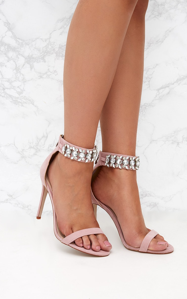 Pink Faux Suede Jewelled Strappy Heeled Sandals 1