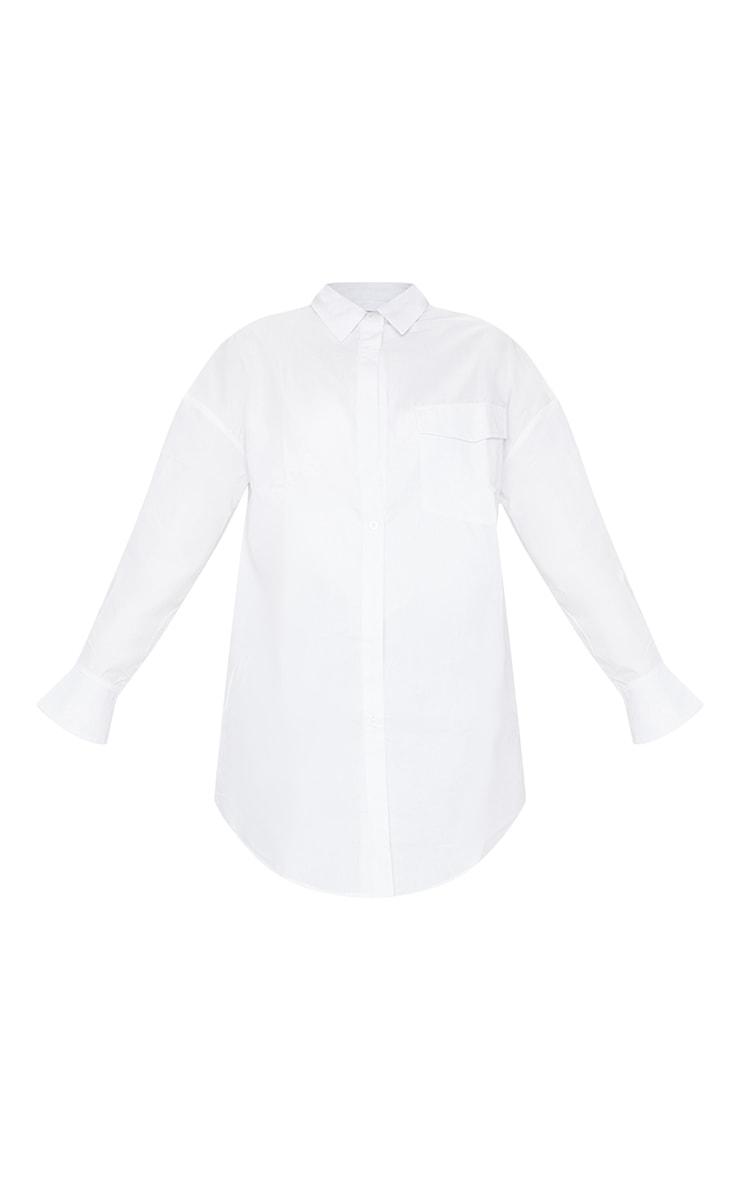 White Bell Cuff Detail Oversized Shirt Dress 5