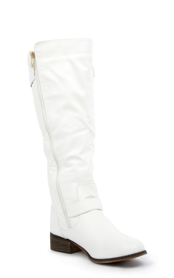 Amaya White Quilted Biker Boots 3