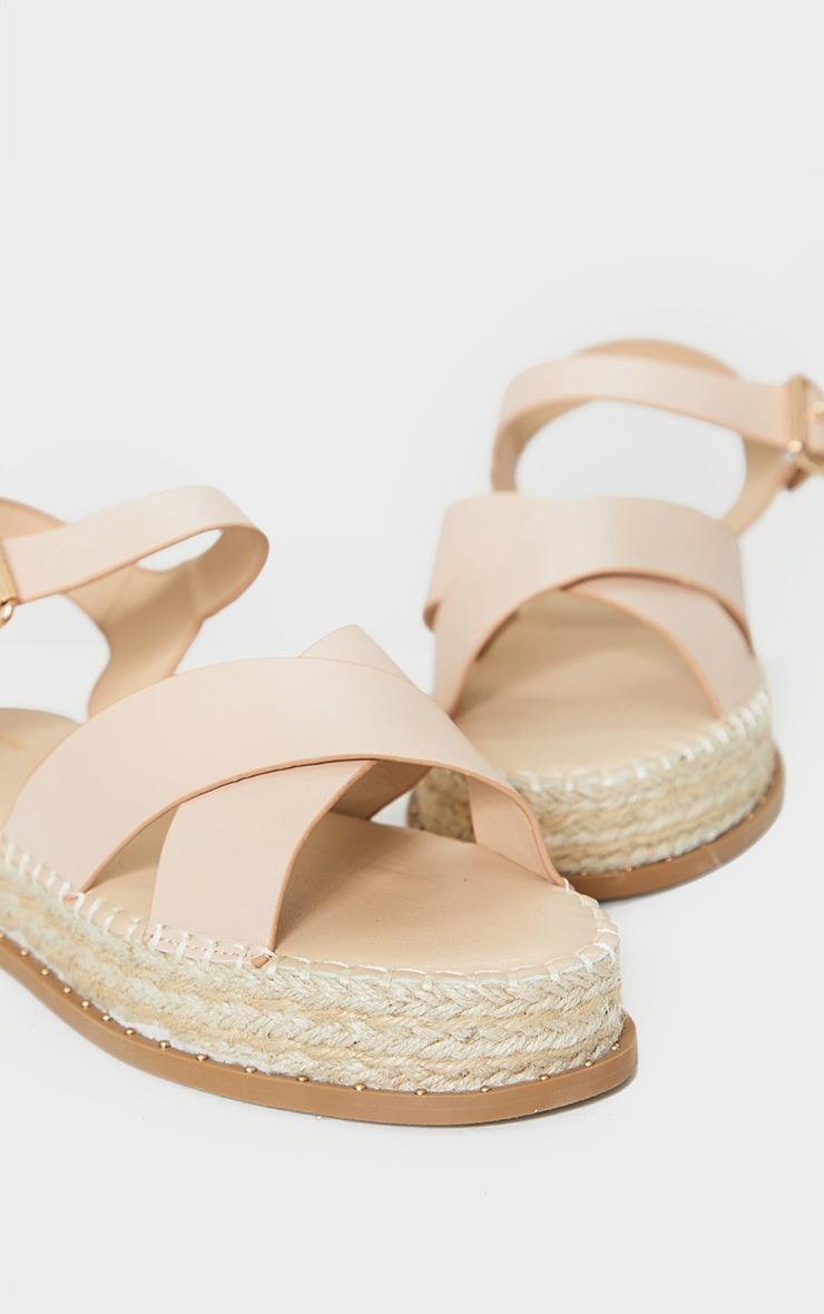 Nude Studded Flatform Espadrille Cross Strap Sandals 4