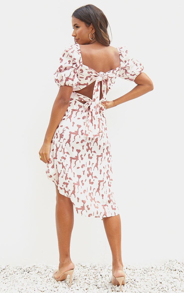 Pink Leopard Print Puff Sleeve Draped Wrap Midi Dress 2