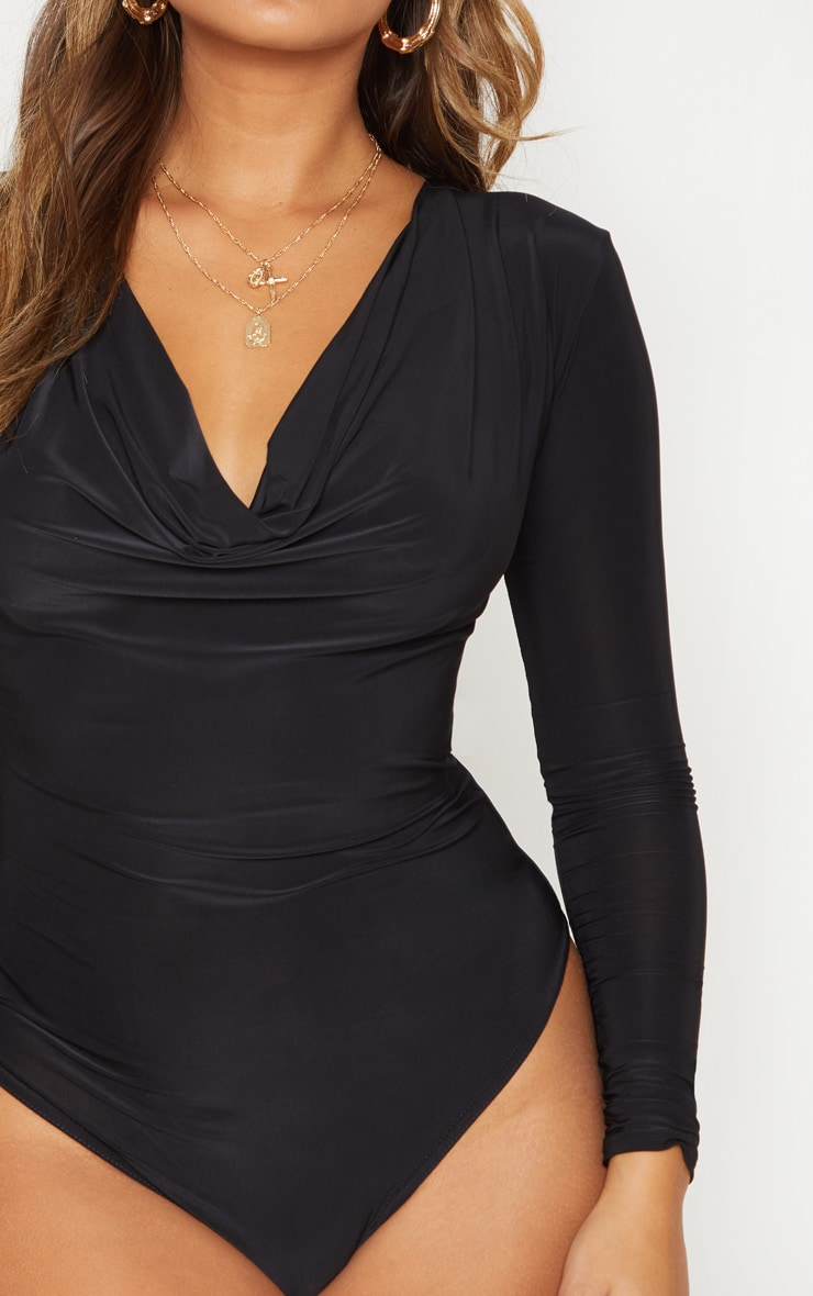 Black Long Sleeve Cowl Neck Bodysuit 7