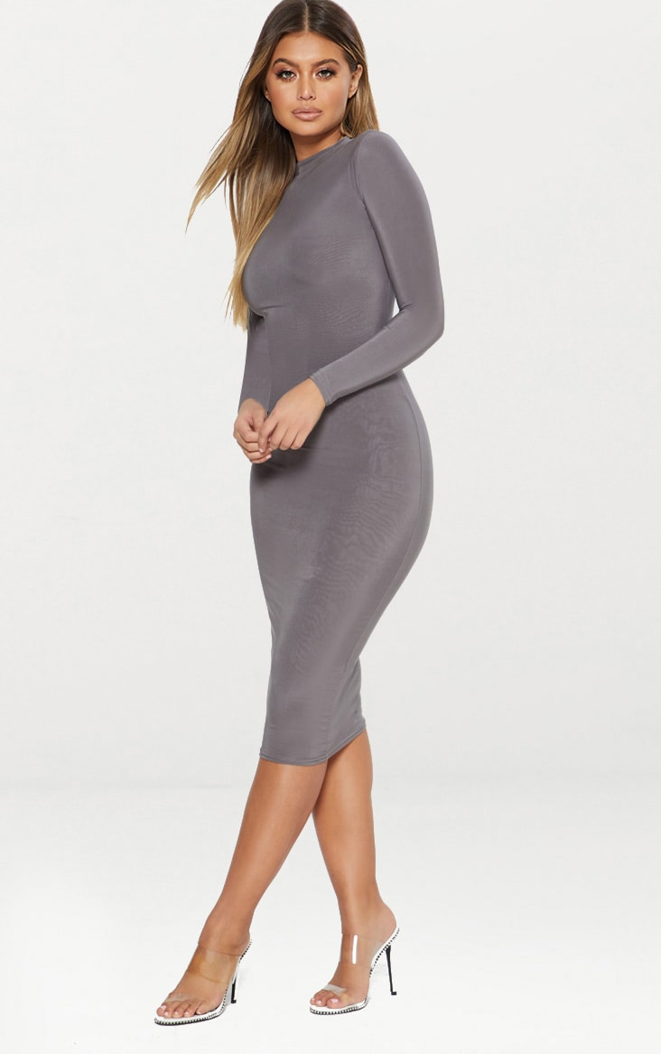 Charcoal Grey Second Skin Slinky High Neck Midaxi Dress 4
