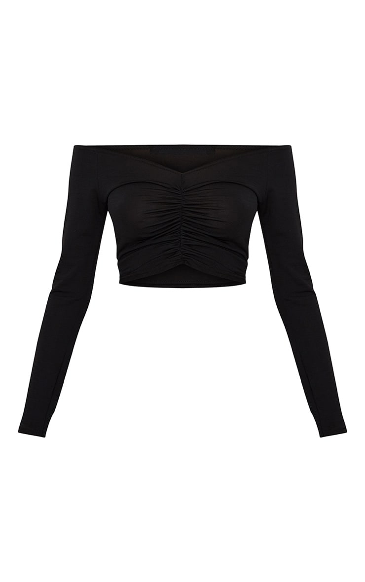 Black Slinky Ruched Front Long Sleeve Crop Top  3