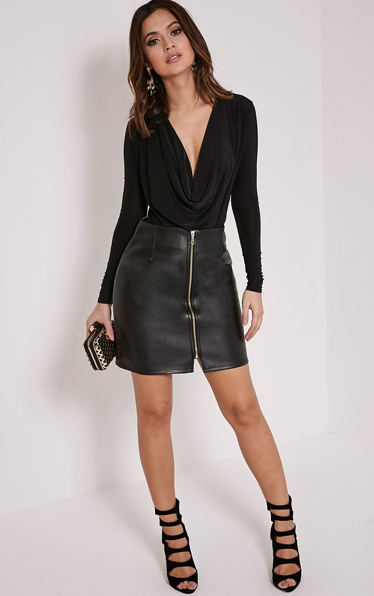 Chandra Black Faux Leather Zip Up Mini Skirt 5