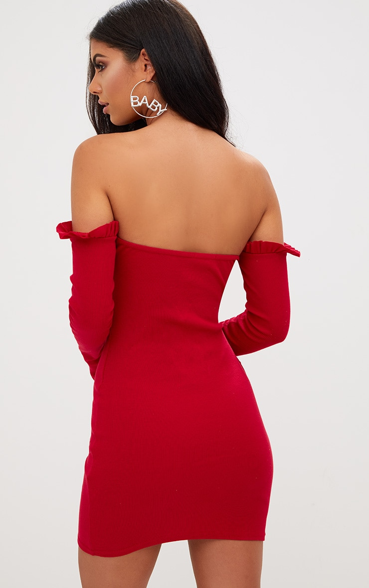 Red Ribbed Frill Bardot Bodycon Dress 2