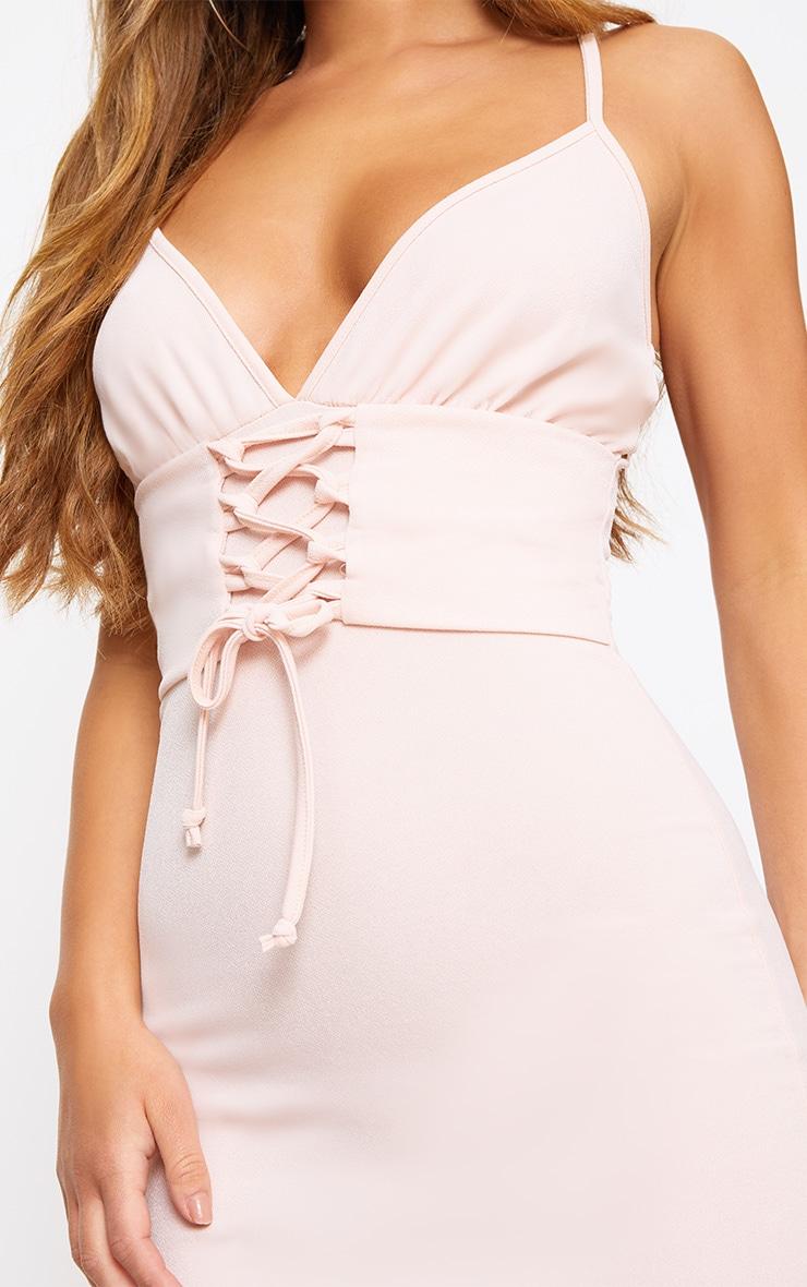 Petite Blush Crepe Corset Waist Midi Dress 5