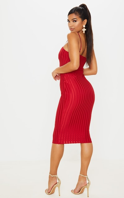 Scarlet Strappy Cup Detail Striped Midi Dress