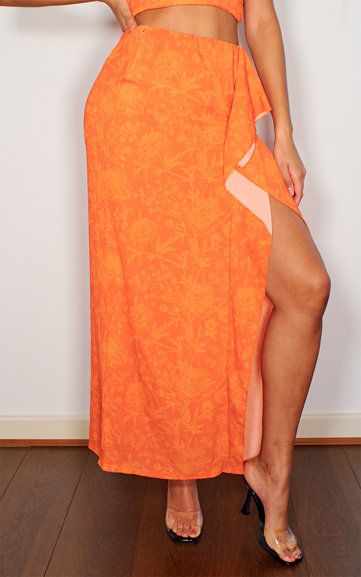 Bright Orange Crepe Frill Split Hem Midaxi Skirt 2