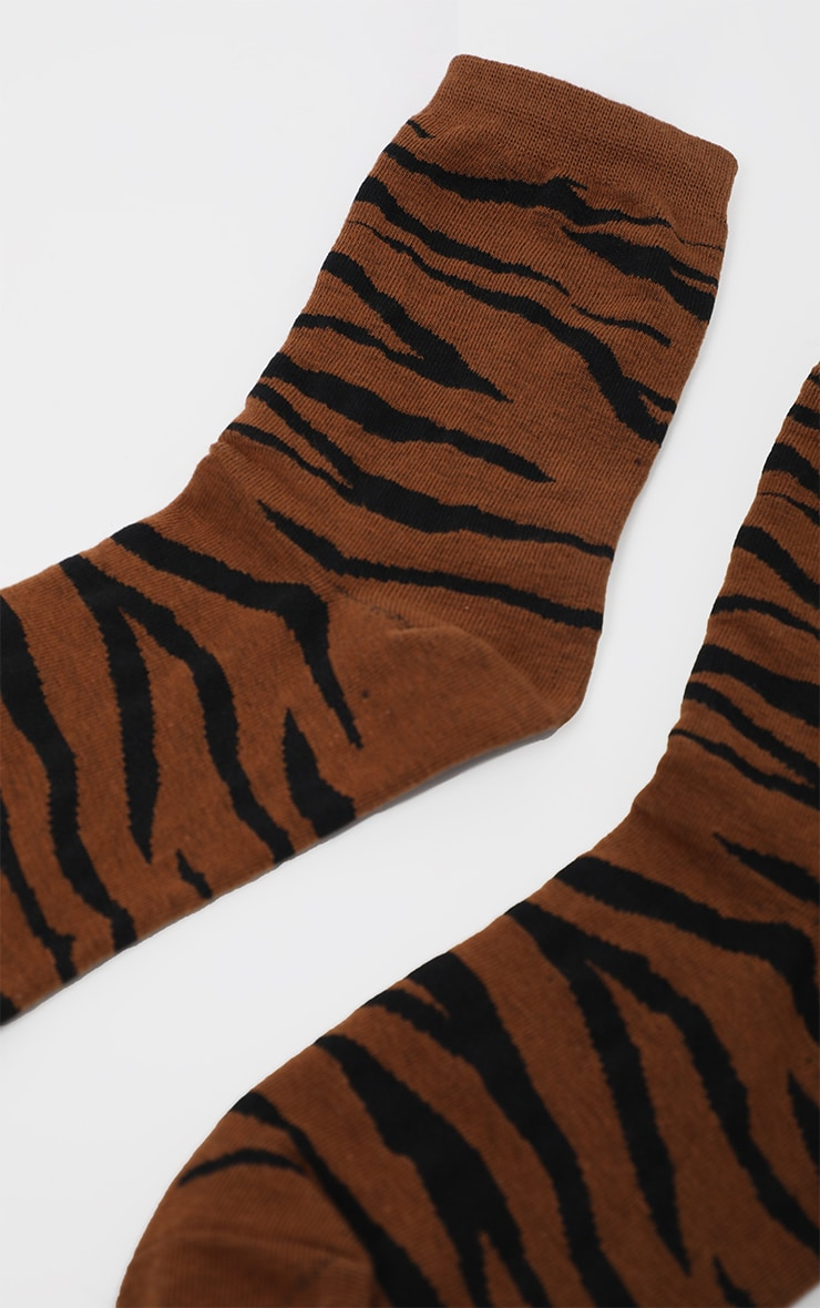 Brown Tiger Print Socks 4