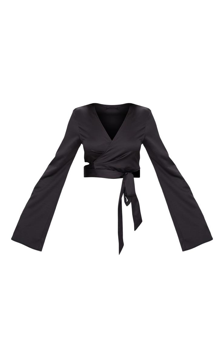 Black Satin Twist Front Wrap Blouse 3