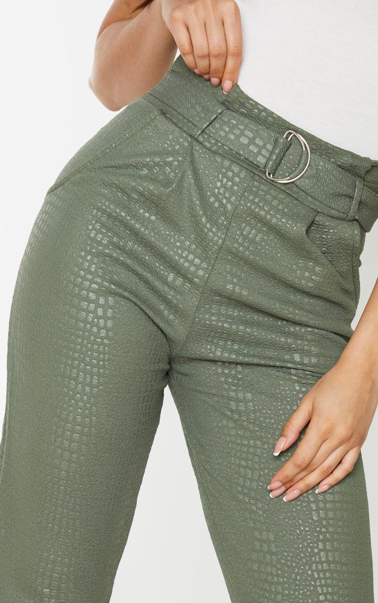 Tall Khaki Croc Print D Ring Belted Skinny Pants 4
