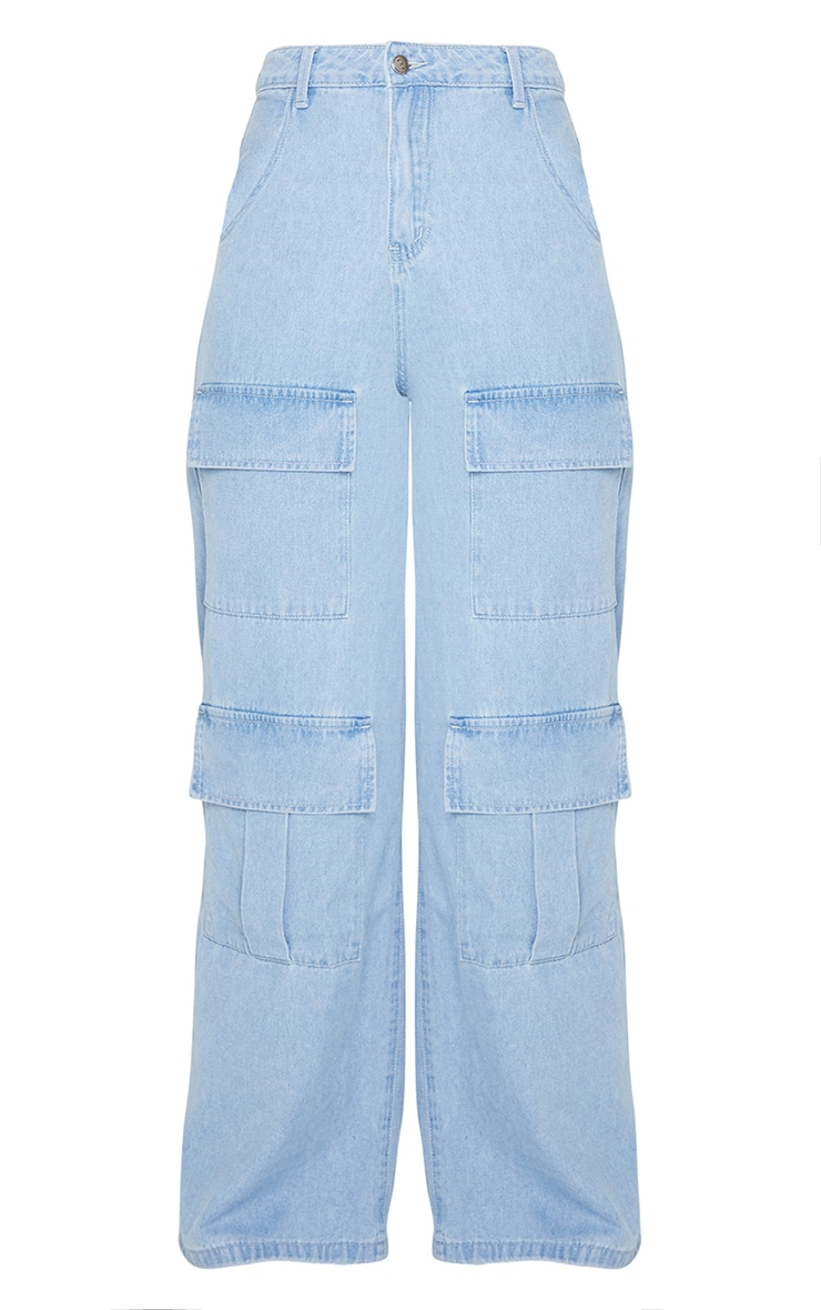 Light Blue Wash Straight Leg Denim Jeans 5