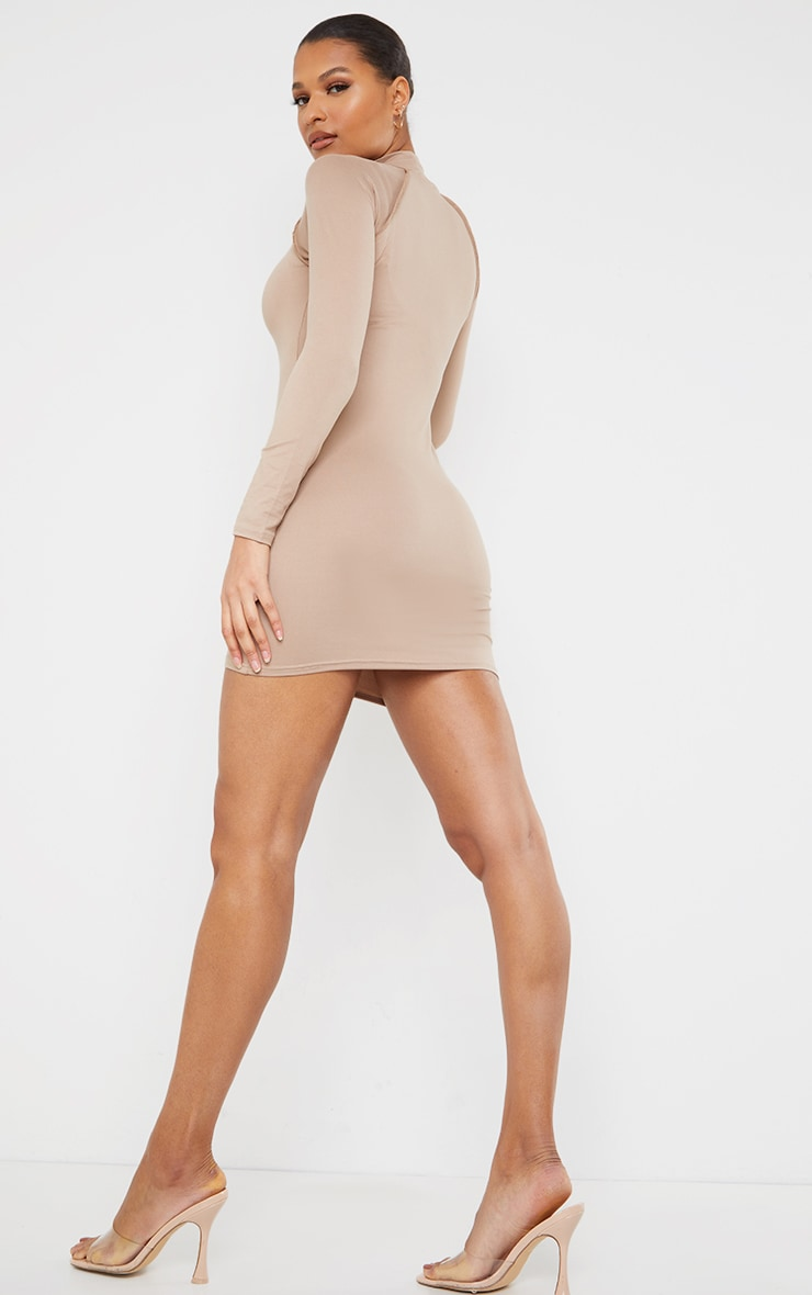 Taupe Long Sleeve Contrast Stitch Armhole Bodycon Dress 2