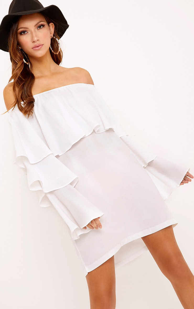 Neah White Bardot Layered Frill Shift Dress 1
