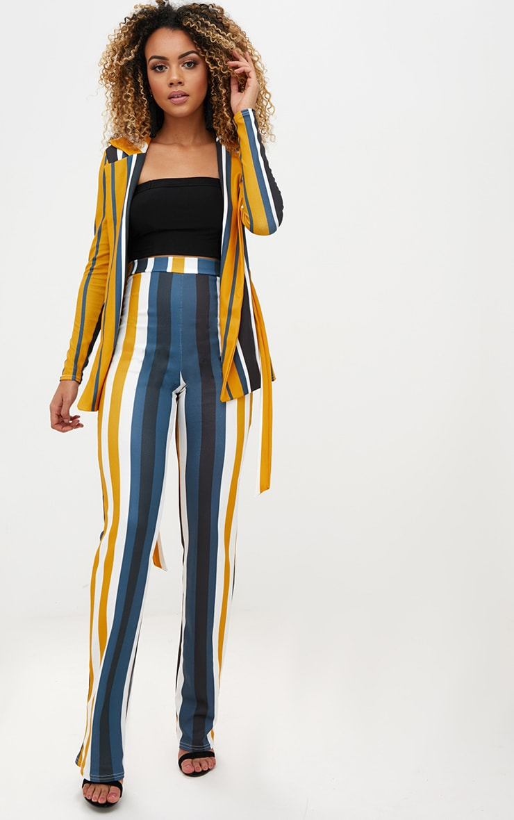Mustard Staight Leg Striped Trouser 	 1