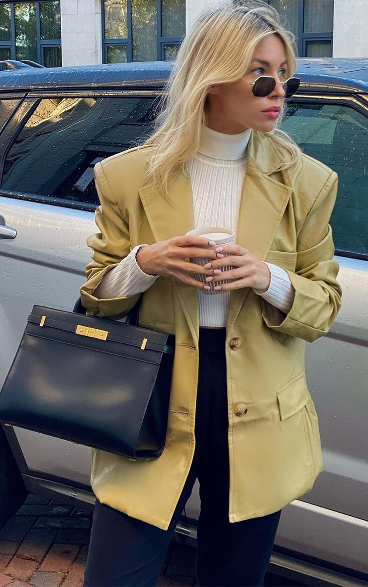 Olive Premium Faux Leather Pocket Detail Blazer 1