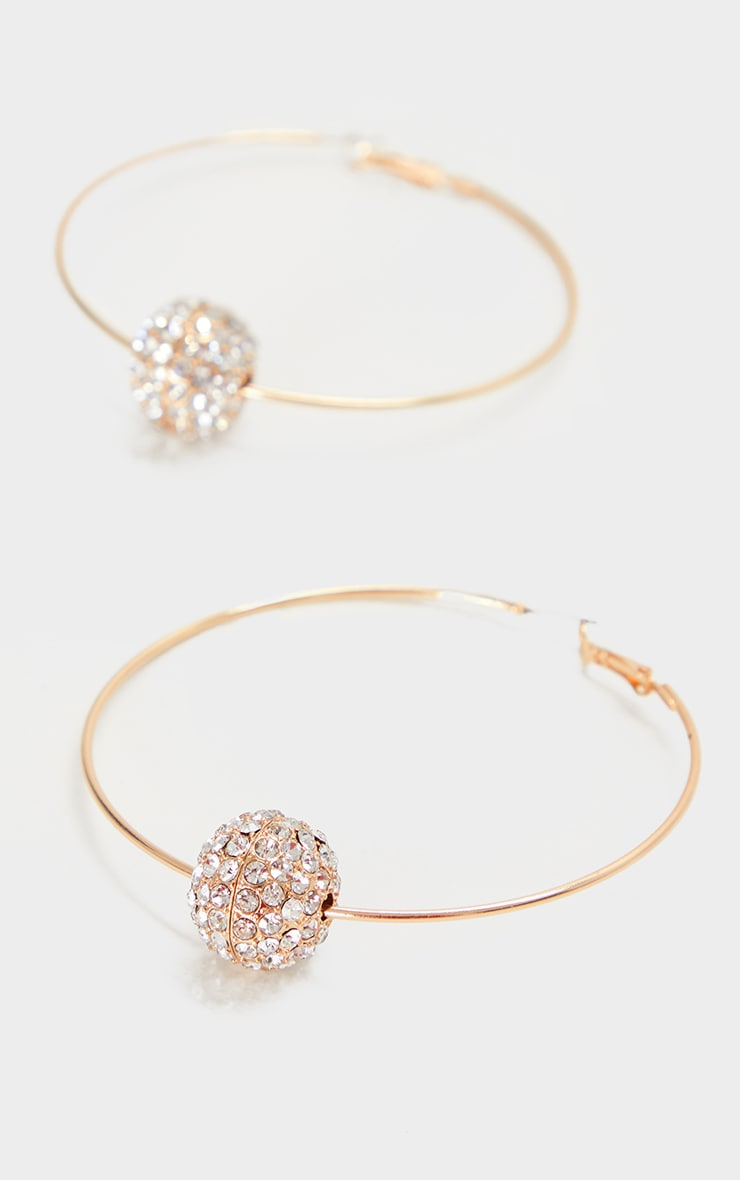 Gold Oversized Diamante Ball Hoop Earrings 2