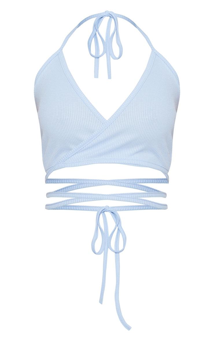 Shape Light Blue Ribbed Wrap Waist Detail Crop Top 3