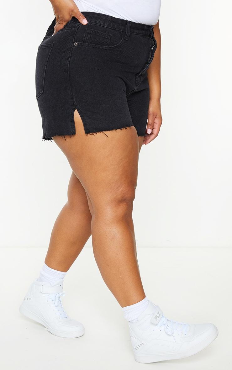 Plus Washed Black Split Hem Mom Shorts 2