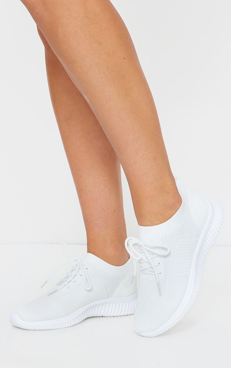White Basic Knitted Sneakers 3