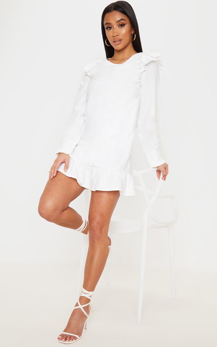 Petite - Mini-robe blanche à ourlet volanté et manches longues 4