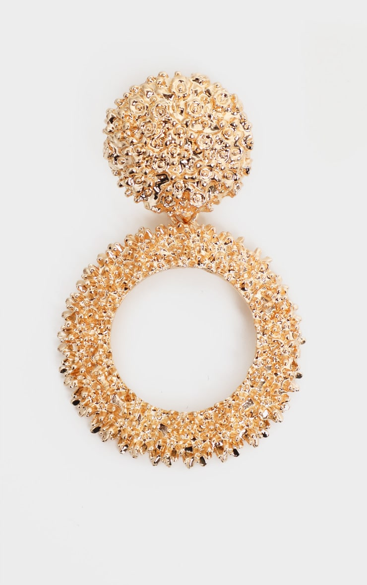 Gold Textured Circle Drop Statement Earrings 2