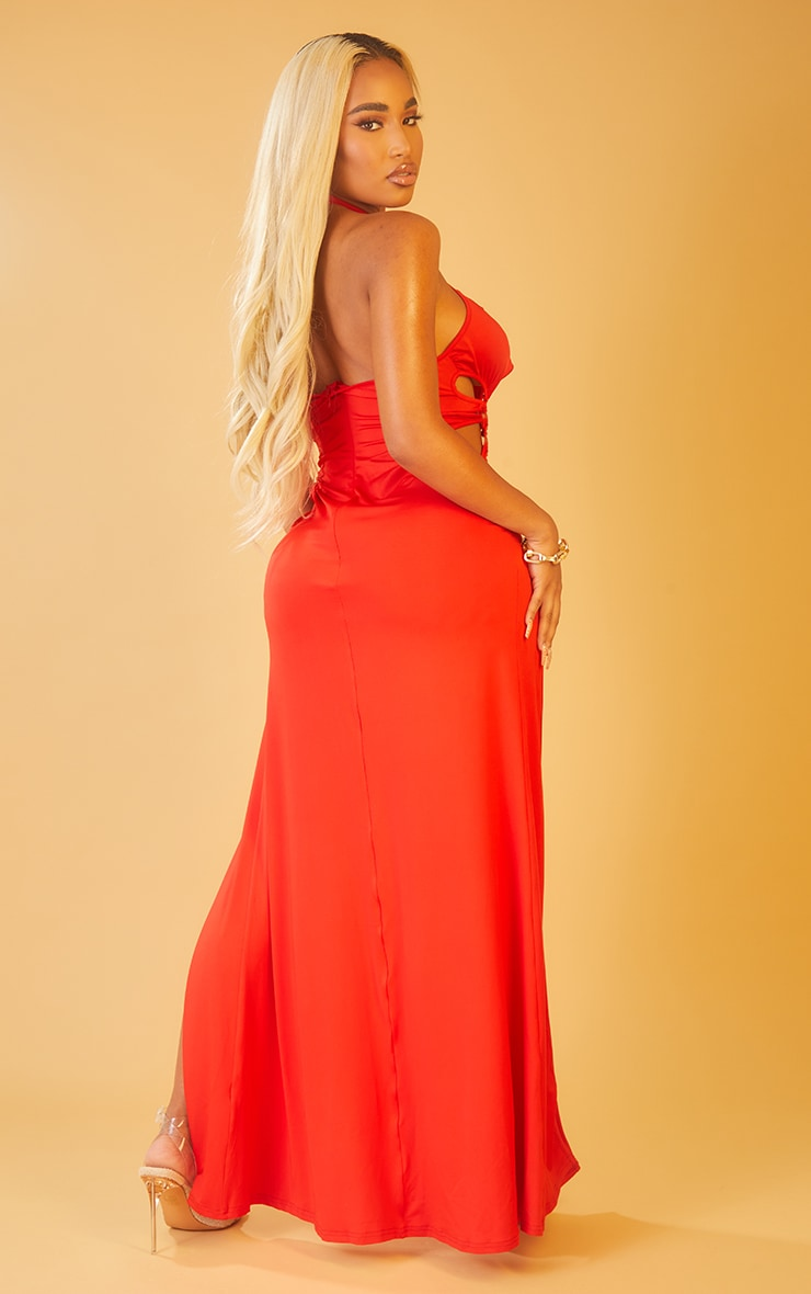 Shape Red Ring Detail Cut Out Racer Neck Maxi Dress 2