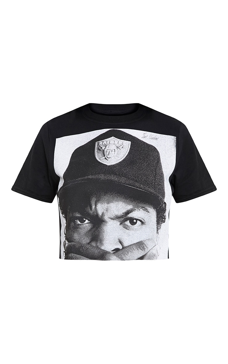 Black Iconic License Print Crop T Shirt 3