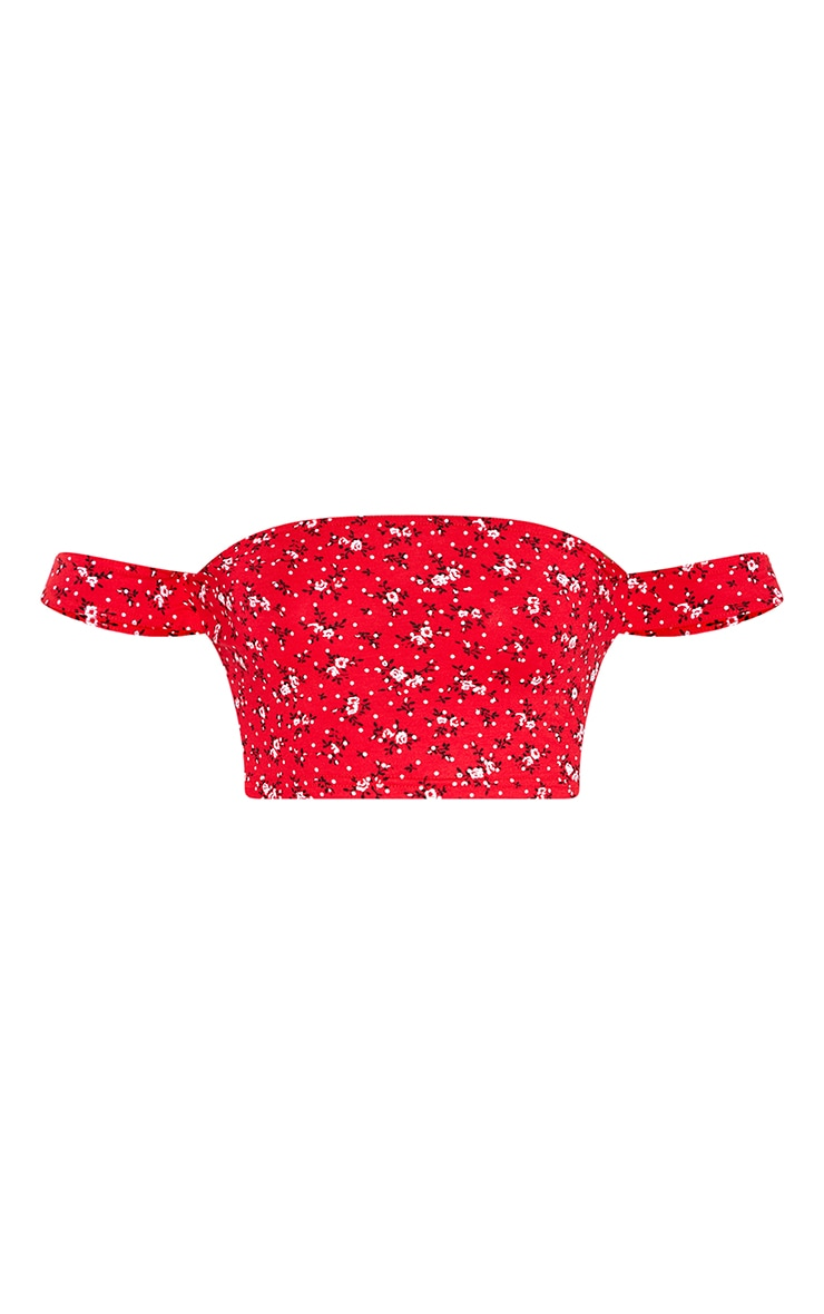Red Bardot Disty Floral Print Crop Top 3