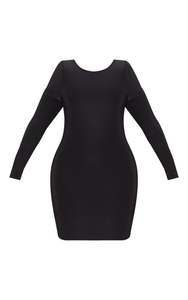 Plus Black Second Skin Slinky Scoop Back Bodycon Dress 3