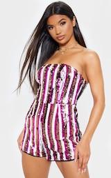 c2766d8140 Pink Bandeau Sequin Stripe Playsuit image 2