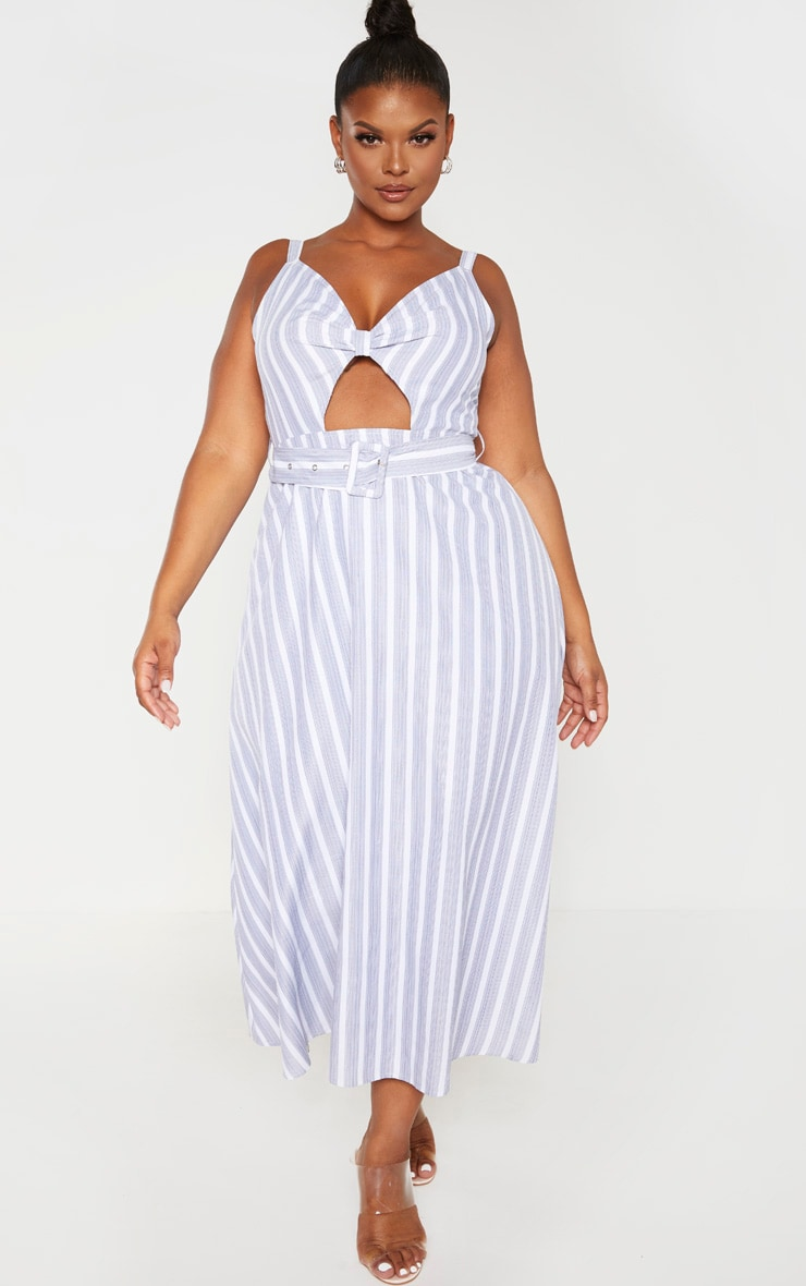 Plus Dusty Blue Striped Cut Out Belt Detail Midi Dress  4