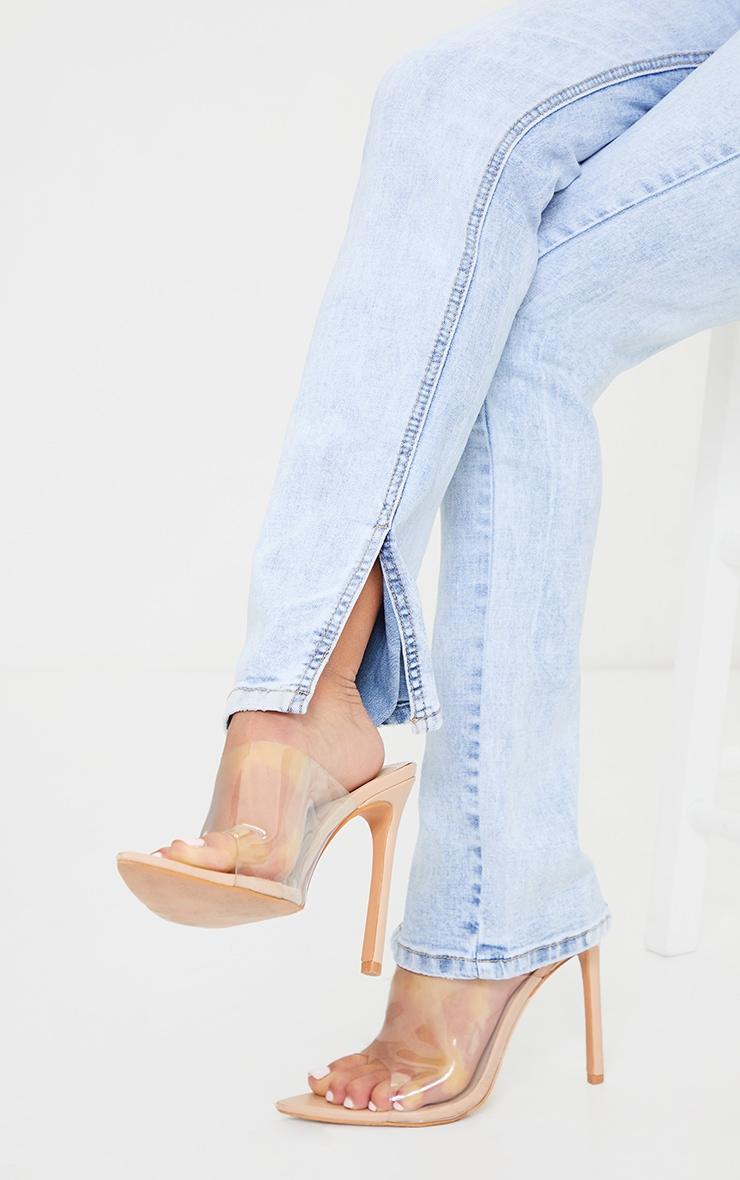 Petite Bleach Wash Long Leg Split Hem Slim Fit Jeans 4