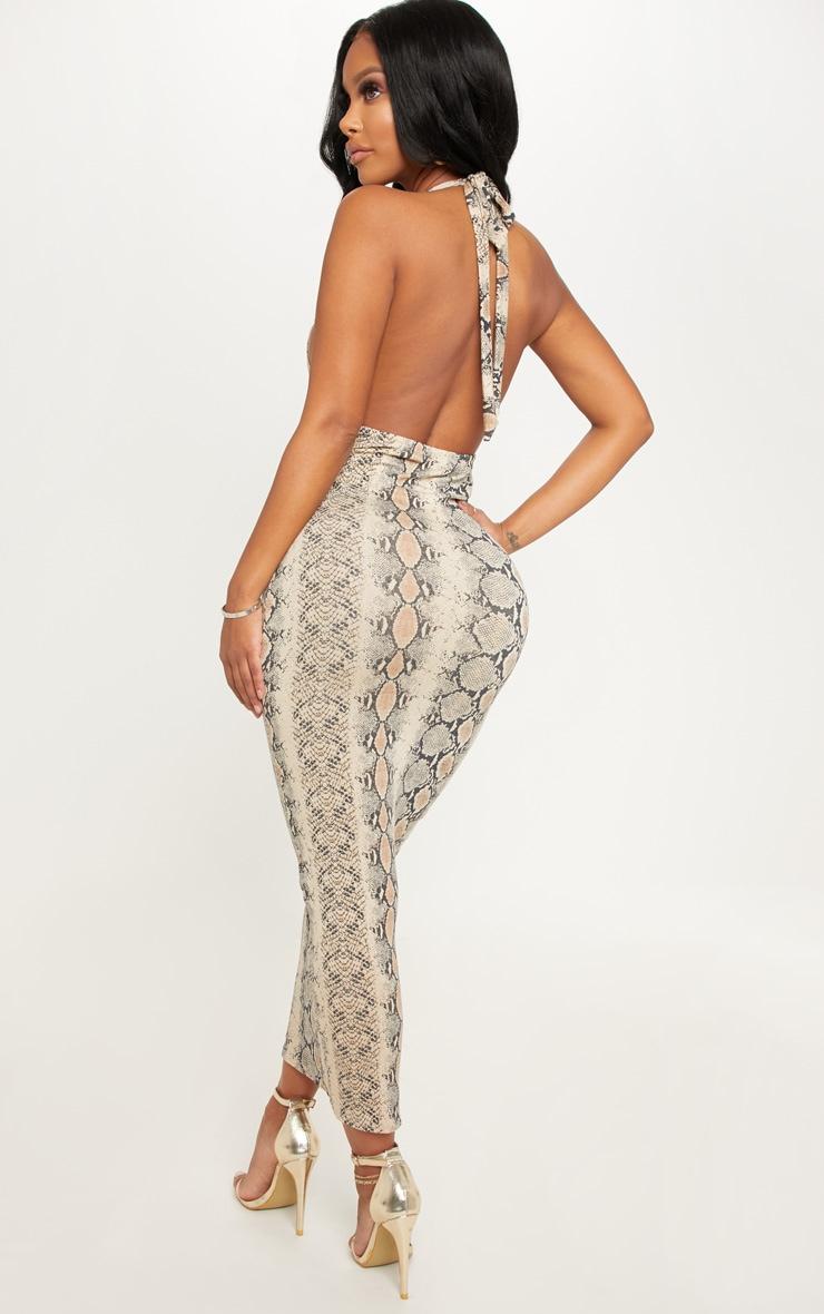 Shape Taupe Snake Print Halterneck Midaxi Dress 2
