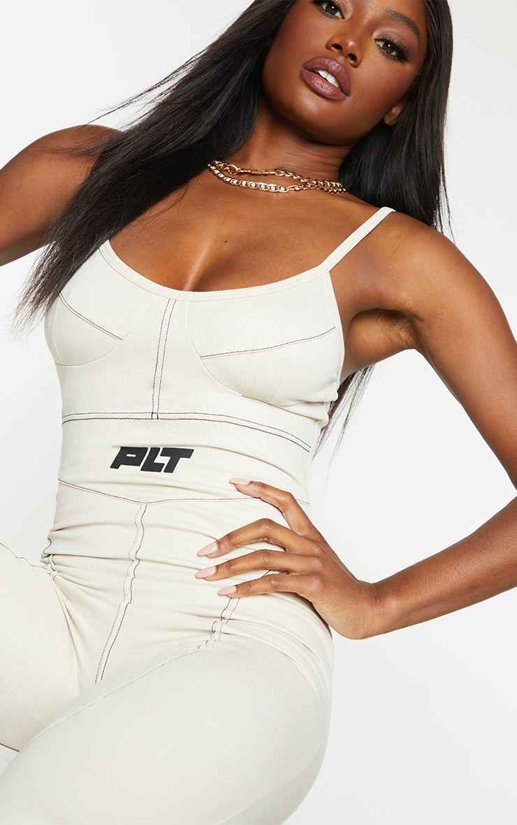 PRETTYLITTLETHING Stone Strappy Contrast Seam Detail Jumpsuit 4