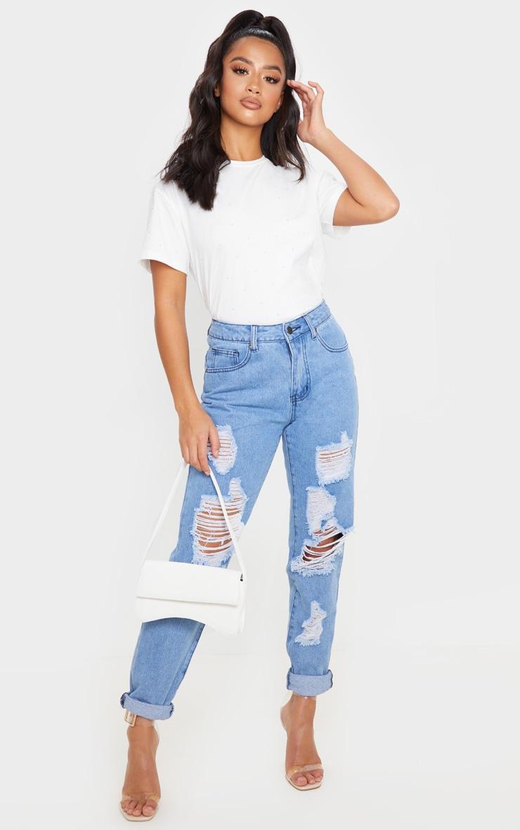 Petite White Diamante T-Shirt  4