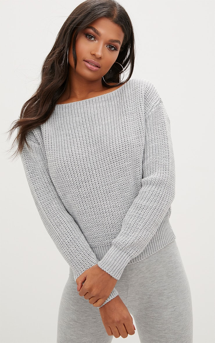 Christiana Grey Mixed Knit Slash Neck Crop Sweater 1