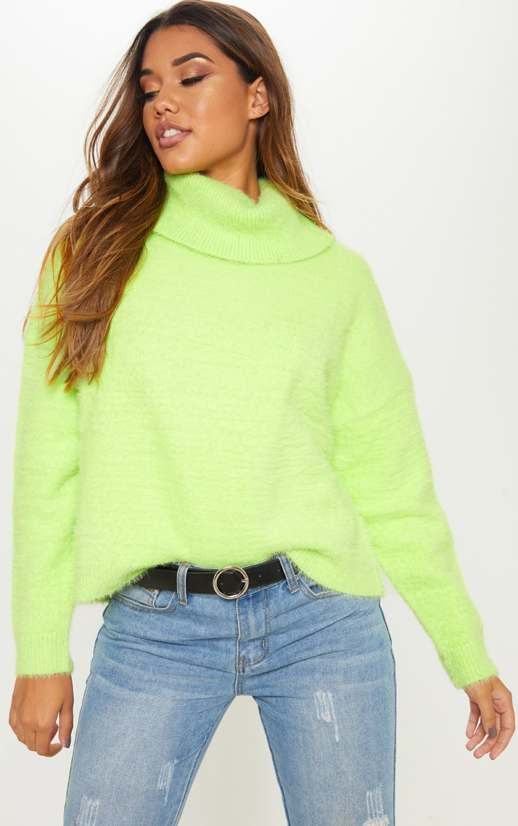 Neon Lime Roll Neck Fluffy Knit Sweater  1